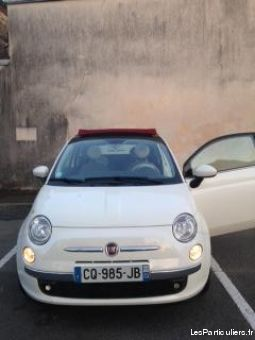 fiat 500c (cabriolet) blanche capote rouge vehicules voitures mayenne
