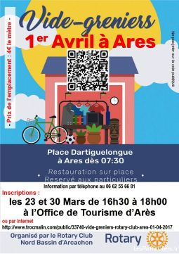 vide-greniers le 1er avril 2017 à ares services evenements vide grenier brocante gironde