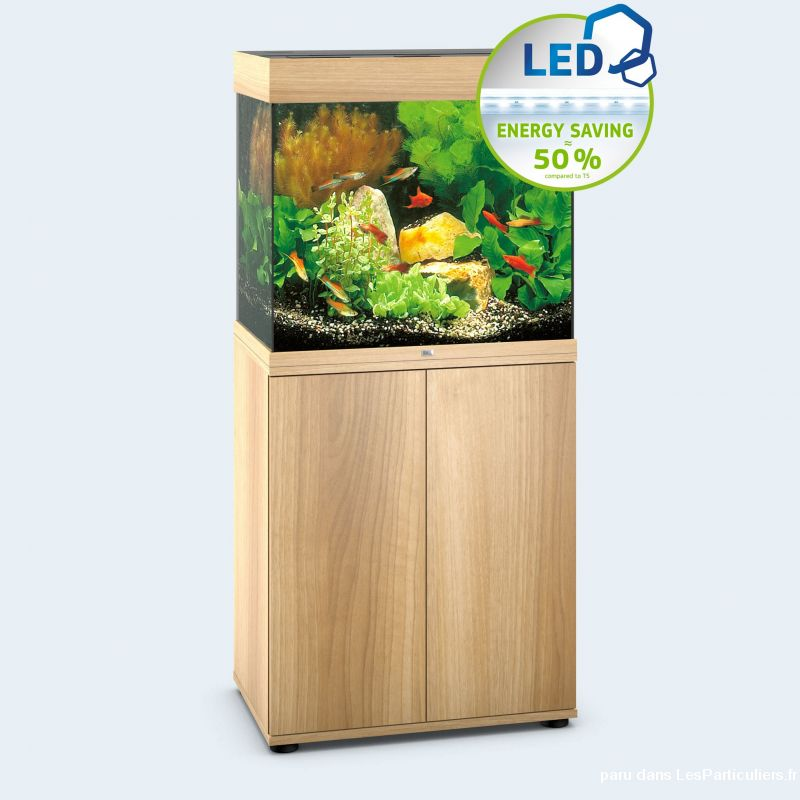 Ensemble aquarium LIDO 120 LED  CHENE CLAIR+meuble