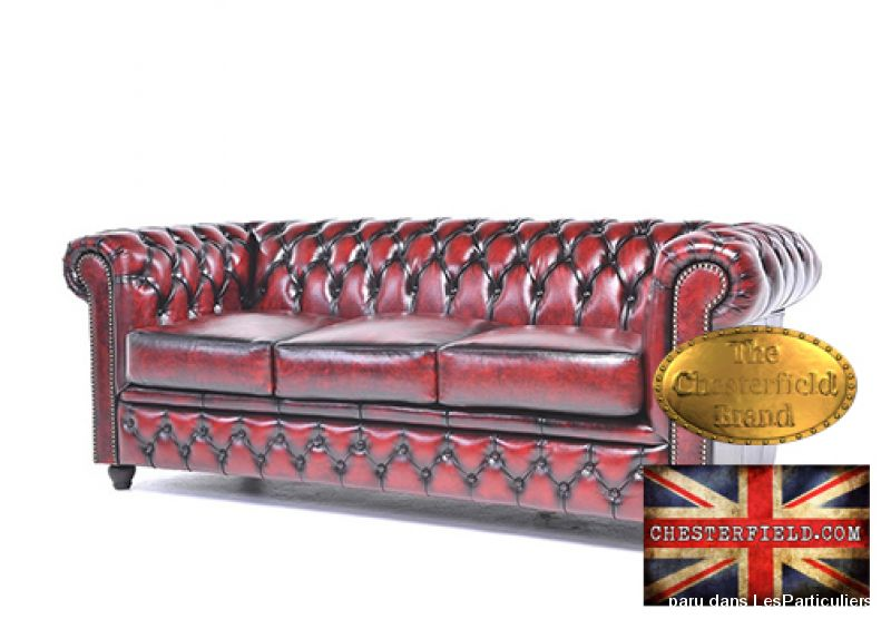 Canapé Original Chesterfield Antique Rouge 1+3 Maison et Jardin Ameublement Paris