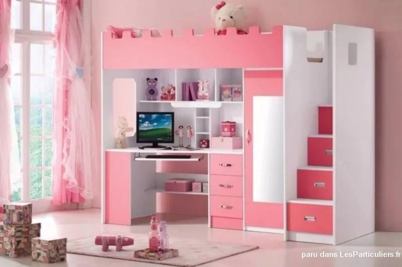 Magnifique lit bureau fillette rose et blanc maison et jardin