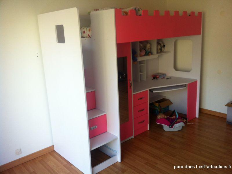 Magnifique lit bureau fillette rose et blanc maison et jardin loiret