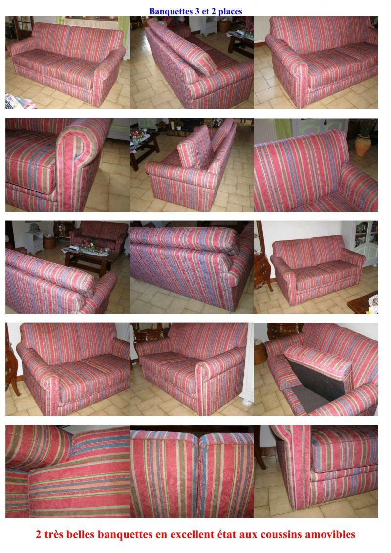 Tissus Ameublement La Rochelle canapé banquette chesterfield 2 / 3 pl. tissu basin maison