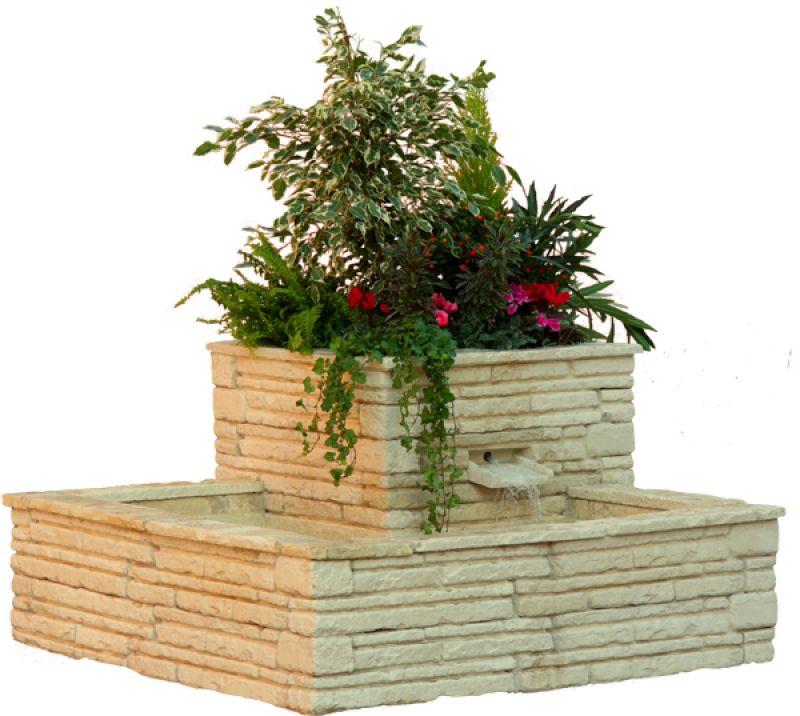Fontaine Jardiniere 2 Bacs En Pierre Reconstitue Maison Et