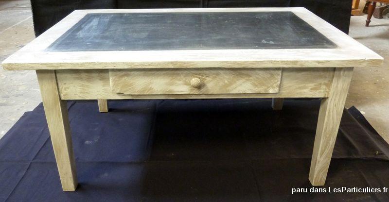 Table basse peinte lasure dessus tain maison et jardin - Table basse peinte ...