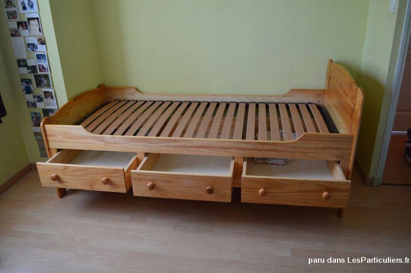 Bois de lit pin 3 tiroirs et sommier maison et jardin for Lit zodiac 90x190