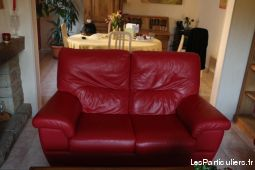 salon en cuir  tr�s belle fabrication maison et jardin ameublement finist�re