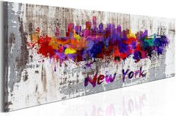 Tableau panoramique abstrait New York city 120x40