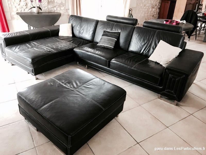 Canape cuir noir avec meridienne et repose pieds maison et jardin indre et loire - Canape avec repose pied ...