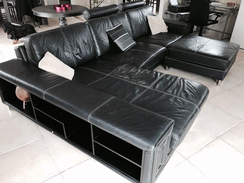 Canape cuir noir avec meridienne et repose pieds maison et jardin indre et loire - Canape avec repose pied integre ...