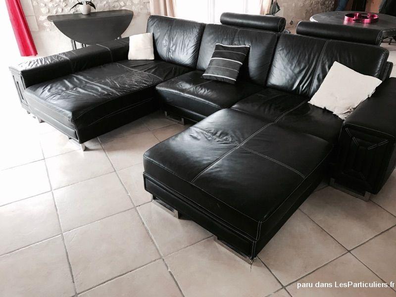Canape cuir noir avec meridienne et repose pieds maison et - Meridienne cuir noir ...