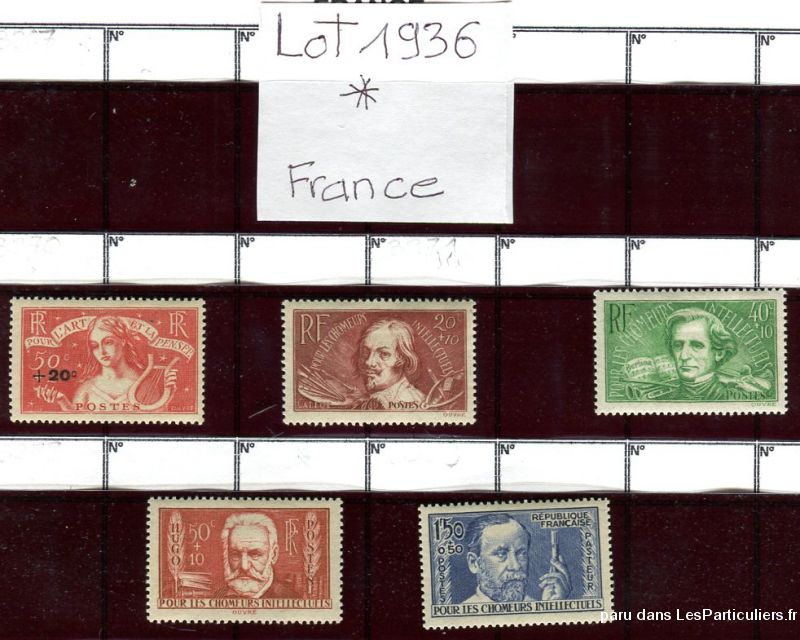 clos78 timbres  france 1936 * sport loisirs et culture collection yvelines