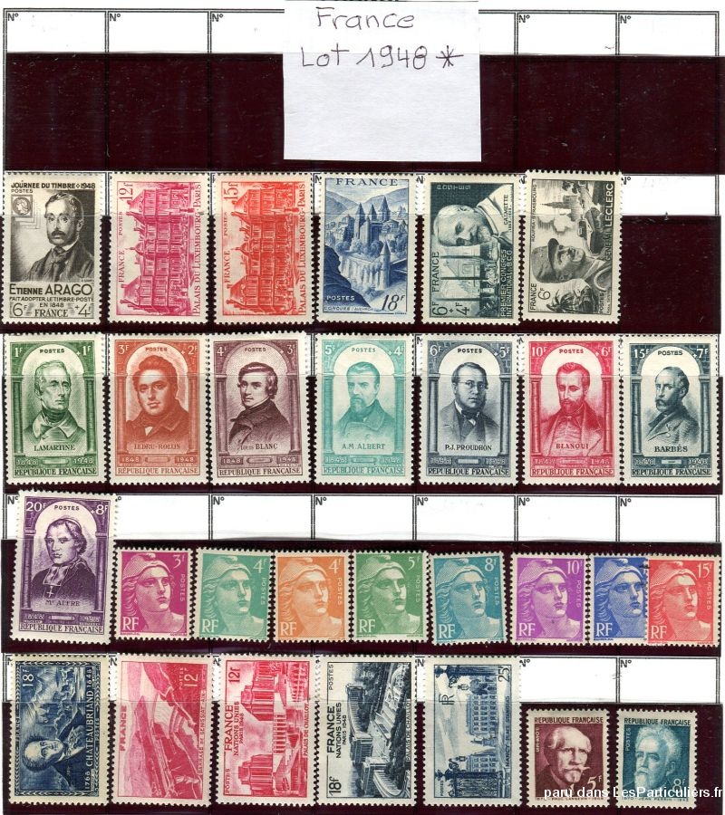clos78 – timbres  france 1948*-1949*-1950*-1951*- sport loisirs et culture collection yvelines