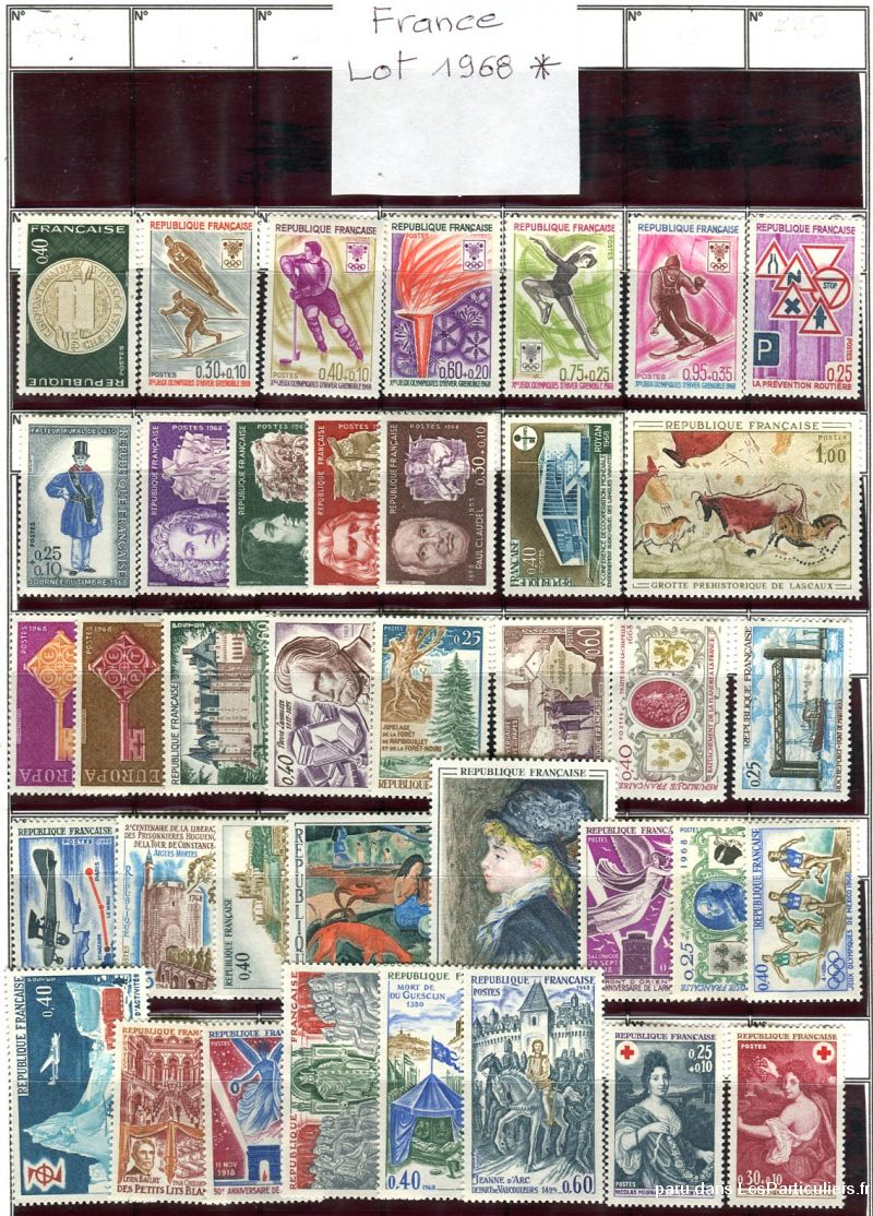 clos78 – timbres  france 1968*-1969*-1970*-1971* sport loisirs et culture collection yvelines