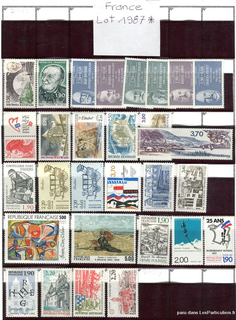 clos78 – timbres  france 1987*-taxe-fm-divers sport loisirs et culture collection yvelines
