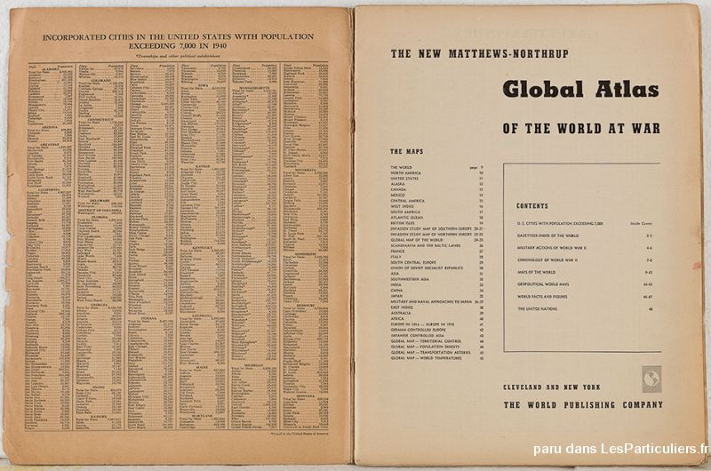 Matthews Northrup Atlas of the World at War Sport Loisirs et Culture Collection Nord