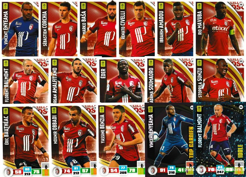 lot 16 cartes adrenalyn 2016 / 2017 equipe lille sport loisirs et culture collection eure