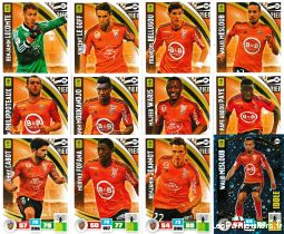 lot 12 cartes adrenalyn 2016 / 2017 equipe lorient sport loisirs et culture collection eure