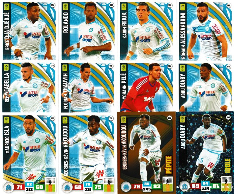 lot 12 cartes adrenalyn 2016 / 2017 equipe marseille sport loisirs et culture collection eure