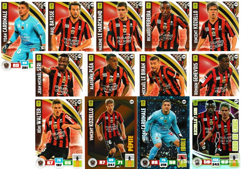 lot 13 cartes adrenalyn 2016 / 2017 equipe nice sport loisirs et culture collection eure