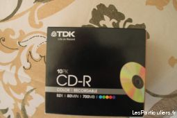 tdk 10 pk cd-r color recordable 52x80min700mb neuf sport loisirs et culture dvd cd livre hérault