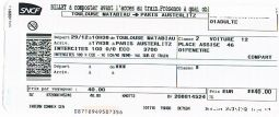billet de train toulouse-paris austerlitz 29/12 sport loisirs et culture billetterie charente-maritime