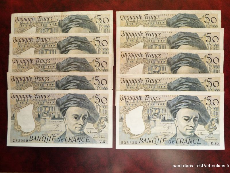 10 billets 50 francs quentin de la tour sport loisirs et culture collection tarn